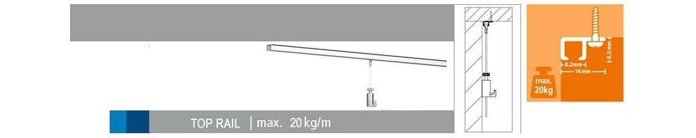 Vendita online Top Rail, binario a soffitto per appendere quadri.